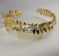 Roman crown bridal crown wedding headpiece by EricaElizabethDesign