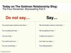 "Gottman Relationship guidelines - although I was once told never to use the ""we"" word, and only ever use the first person."