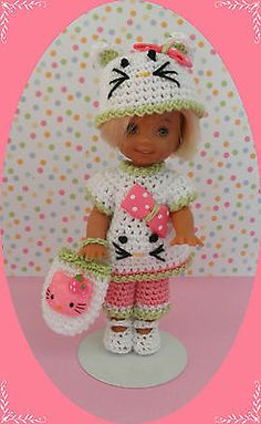 "Crochet Doll Clothes Kitty in Shorts for 4 ½"" Kelly & same sized dolls"