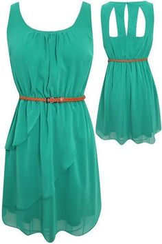 Cutout Back 'Sadie' Dress w/ Belt (Green)