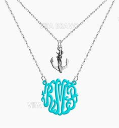 Monogram Necklace Anchor Hand Made Custom Turquoise Initials