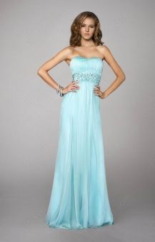 Wholesale - Sheath/Column Straples Chiffon Floor-length Blue Beading Prom Dress