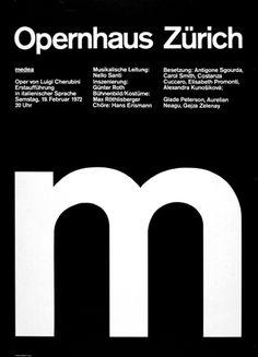Ruedi Rüegg — Medea M, poster for Opernhaus (1972)