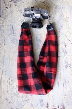 Scarf Camera Strap - Flannel  by AmandaJeanCreations on Etsy
