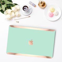 Platinum Edition New York Green Mint with Rose Gold Edge Detailing Hybrid Hard Case for Apple Mac Air & Mac Pro Retina, Mac Air Mac, Macbook Pro 13 Case, Laptop Covers, Phone Cover, Apple Laptop, Apple Logo, Apple Mac, Laptop Accessories, Apple Products