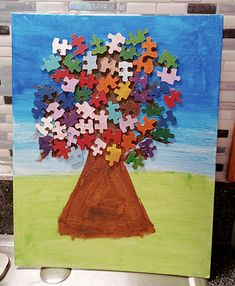 Kid's Crafts - Puzzle Pieces Tree Canvas Wall Art Craft Projects For Kids, Arts And Crafts Projects, Tree Canvas, Canvas Wall Art, White Canvas Art, Paint Drying, Glue Crafts, Puzzle Pieces, Art Boards
