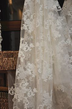 alencon lace fabric in off white  for bridal gowns by lacetime