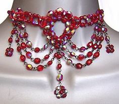 GOTHIC TUDOR RED GOTH VICTORIAN MOULIN BURLESQUE PROM BALL GLASS CHOKER NECKLACE