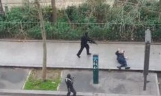 Chilling screengrab of video showing what appears to be a police officer being shot dead on the sidewalk by an armed gunman at the scene of the Charlie Hebdo attack in Paris - Imgur