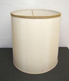 VINTAGE 1950u0027s ANTIQUE STIFFEL BRASS LAMP SHADE W/ GOLD TRIM HARP CREAM  SHADE
