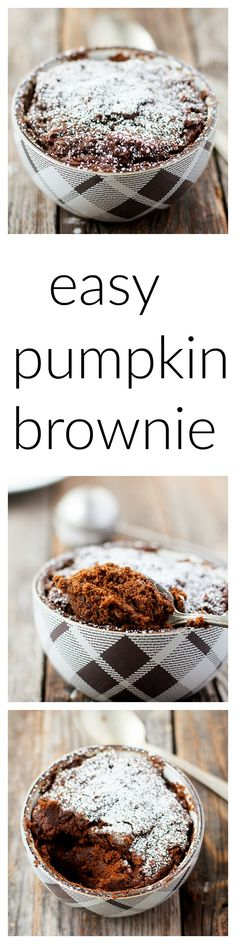ready in only 90 seconds, and perfect for fall | easy pumpkin mug brownie #brownies -  heathersfrenchpress.com