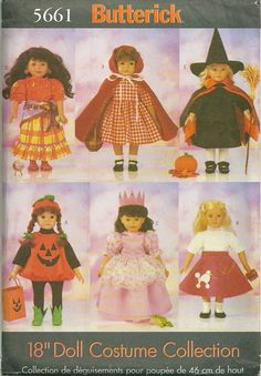 Butterick 5661 Doll Clothes Costumes Pattern  for 18 Inch Doll  Doll Clothes Sewing Pattern Uncut. $18.00, via Etsy.
