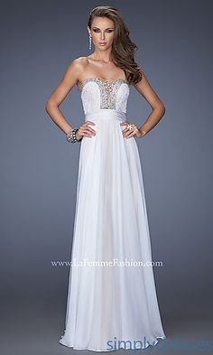 Floor Length Strapless Dress by La Femme at SimplyDresses.com