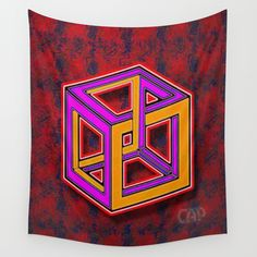 DIFORCE #1 Impossible Rectangle Psychedelic Optical Illusion Wall Tapestry