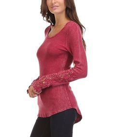 Look at this Burgundy Lace-Accent Hi-Low Tee on #zulily today!