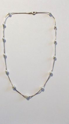 "Sterling Silver Necklace, White 5mm FW Pearls, by KC, Italy, 17""L #KC #Tennis"