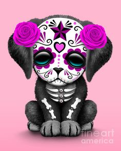 Cute Pink Day Of The Dead Sugar Skull Dog by Jeff Bartels Jeff Bartels - Mignon jour rose du chien c Sugar Skull Artwork, Sugar Skull Wallpaper, Sugar Skull Drawings, Sugar Skull Owl, Sugar Skull Nails, Sugar Skull Painting, Girly Tattoos, Art Tattoos, Los Muertos Tattoo