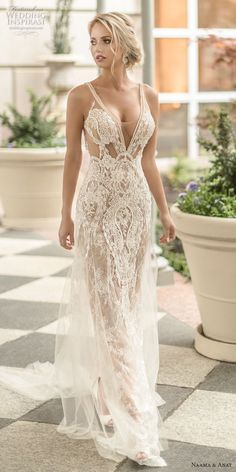 With a feel of glamour and whimsy, we are bringing you the debut of the new Naama and Anat Wedding Dress Collection 2019 : Dancing Up the Aisle. Statement backs and sexy silhouettes make an appearance on every one of these gorgeous bridal gowns. Sexy Wedding Dresses, Sexy Dresses, Beautiful Dresses, Wedding Gowns, Wedding Dress Beach, Beautiful Clothes, Wedding Attire, Wedding Engagement, Bridal Collection