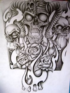 Skull Half Sleeve Tattoo Designs | Half sleeve for a tattoo by ~stephcand on deviantART