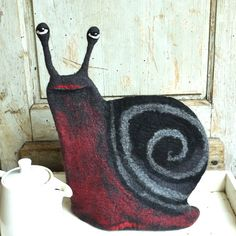 Snail Felt Tea cozy Handmade Felted cozy French teapot by jannio