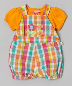 Another great find on #zulily! Orange & Pink Plaid 'One of a Kind' Tee & Shortalls - Infant by Duck Duck Goose #zulilyfinds