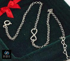 BRANSOLETKA NIESKOŃCZONOŚĆ NA NOGĘ 29CM srebro 925 www.one-silver.pl