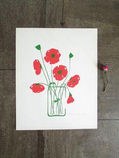 Vintage Mid Century Modern poppies illustration print • Botanical flower floral Print • Vintage wall art • Retro vintage home decor by VintageBureaucracy on Etsy https://www.etsy.com/listing/245176693/vintage-mid-century-modern-poppies