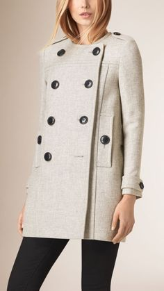 9790e72a4576 Collarless Wool Blend Coat Mode Für Frauen, Grau, Damen, Burberry Coat,  Karomantel