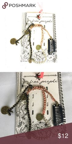 Free People Gold Chain Hair Accessory Free People Store overstock - hair accessory - gold chain with pink, black & white cording, gold charms Free People Accessories Hair Accessories