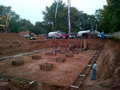 October 4th 2012 - A few weeks ago we cleared the lot. Today, the framework for the foundation was set up. Tomorrow, we're getting concrete poured!