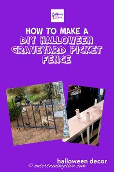 Get inspired by this super easy and spooky DIY Halloween cemetery picket fence. This is the most amazing Halloween outdoor decoration addition to your Halloween graveyard! Plus it is super affordable with using scrap wood and PVC pipe. Diy Halloween Graveyard, Halloween Fence, Spooky Halloween Decorations, Outdoor Halloween, Picket Fence Decor, Metallic Spray Paint, Yard Haunt, Holidays And Events, Pvc Pipe