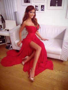 New Design Hot Sale Strapless Side Silt Evening Chiffon Red Prom Dress 2014 $129.99