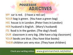 English Grammar - More on possessive adjectives here: http://www.englishgrammar.org/possessive-pronouns-adjectives-3/