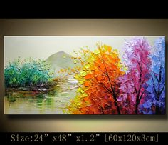 contemporary wall art, Palette Knife Painting,colorful tree painting,wall decor  Home Decor,Acrylic Textured Painting ON Canvas by Chen 1213 by xiangwuchen on Etsy https://www.etsy.com/listing/216819800/contemporary-wall-art-palette-knife