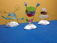 Wire and tissue paper alien sculptures