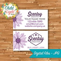 Officially Authorized Scentsy Vendor, Scentsy Business Cards, Customized, Personalized, Print Your Own, Business Branding, Independent Consultant, by ChildofLightDesign on Etsy