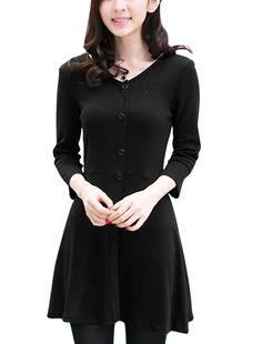 Allegra K Women's V Neck Ruffled Hem Stylish A-Line Dress Black (Size M / 8)