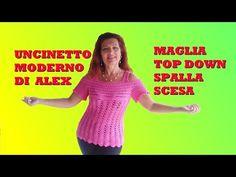 MAGLIA UNCINETTO SPALLE SCOPERTE tutorial ogni taglia - YouTube