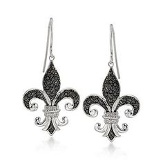 Black & White Diamond Fleur-De-Lis Earrings (Sterling Silver)