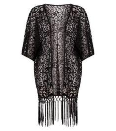 Mela Black Lace Tassel Kimono