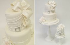 fabric effects wedding cake by Emma Jayne Cake Design
