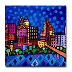 50% Off- Austin art Tile Ceramic Coaster Mexican Folk Art Print of painting by Heather Galler dog City Skyline Texas (HG142)