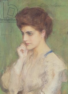 Woman Deep in Thought, c.1910 (pastel on paper).Axentowicz, Teodor (1859-1938)
