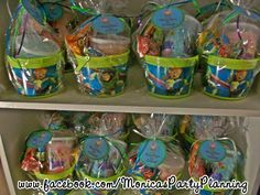 Favor buckets at a Toy Story Party #toystory #partyfavors