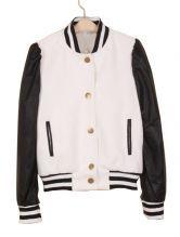 #SheInside Black White Contrast Leather Long Sleeve Coat $43.55