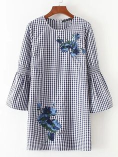 Fashion Autumn Women Floral Embroidery Dress O Neck Flare Sleeve Casual Straight Mini Plaid Dresses Casual vestido mujer Floral Embroidery Dress, Kurti Embroidery Design, Gingham Dress, Plaid Dress, Kurta Designs, Blouse Designs, Cotton Dresses Online, Dress Online, Pattern Floral