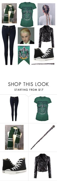 """Draco's first Quidditch Game Go Slytherin"" by moon-and-back-babe123 ❤ liked on Polyvore featuring 7 For All Mankind, Converse and H&M"