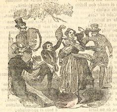 Xilografía en cabecera de una fiesta, dos mujeres bailan con un hombre y dos hombres tocan instrumentos, uno la pandereta y el otro la guitarra.