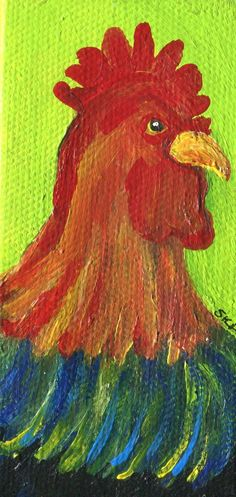 Rooster mini painting on canvas, easel, Chicken art, miniature acrylic painting, rooster on green, kitchen decor, chicken art by SharonFosterArt on Etsy