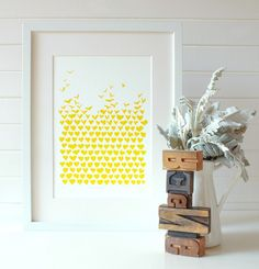 Love Floats, yellow, hand pulled screen print, limited edition | Ginger Design | madeit.com.au